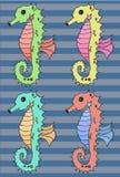 Reeks van de Seahorse de vectorillustratie Stock Foto