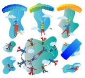 Reeks van de Skydivings de vectorillustratie Inzameling van solo, achter elkaar en groepsvluchten Proef met doen schrikken passag Stock Fotografie