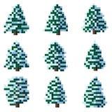 Reeks van de sneeuwboom van de pixelwinter. Royalty-vrije Stock Afbeeldingen