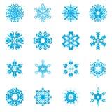 Reeks van de sneeuwvlok de vectorillustrator Stock Afbeelding