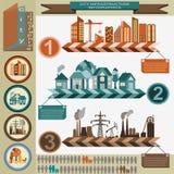 Reeks van de stad van de elementeninfrastructuur, vectorinfographics Stock Foto