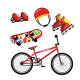 Reeks van de straat de extreme sportuitrusting, fiets, vleten stock illustratie