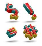 Reeks van de symbool de vector 3D stijl Stock Foto's