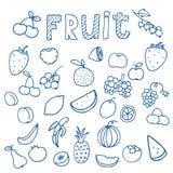 Reeks van de tekeningenvector van de Fruitkrabbel Royalty-vrije Stock Foto's