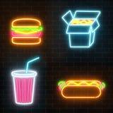 Reeks van van de tekensona van het snel voedselneon donkere de bakstenen muurachtergrond stock illustratie