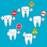 Reeks van de tekensteken van de tandholding Stock Afbeeldingen