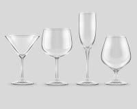 Reeks van de transparante vector van glasdrinkbekers Stock Fotografie