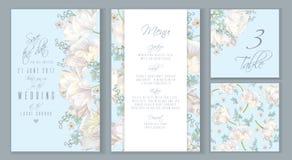 Reeks van de tulpen de blauwe uitnodiging Stock Afbeeldingen