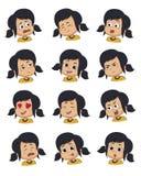 Reeks van de uitdrukking van het Meisjegezicht, vector geïsoleerde illustraties stock illustratie