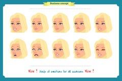 Reeks van de Uitdrukking van de Vrouw Op wit Leuke vrouwen emotionele vrouwelijke hoofdillustratie vectorgezichtsmeisje, droevig, royalty-vrije illustratie