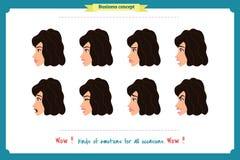 Reeks van de Uitdrukking van de Vrouw Op wit Leuke vrouwen emotionele vrouwelijke hoofdillustratie vectorgezichtsmeisje, droevig, vector illustratie