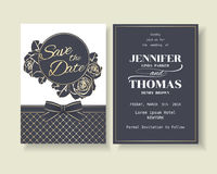 Reeks van de Uitnodigingskaart van het Luxe Marineblauwe Huwelijk met Rozendecoratie Royalty-vrije Stock Foto