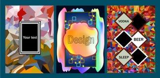 Reeks van de universele van het de bannerontwerp van de affichevlieger kleurrijke achtergrond Stock Foto
