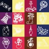 Reeks van de vector van Kerstmispictogrammen Royalty-vrije Stock Foto