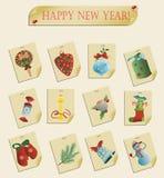 Reeks van de vector van Kerstmispictogrammen Royalty-vrije Stock Afbeeldingen