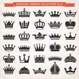 Reeks van de vector van kroonpictogrammen Royalty-vrije Stock Foto