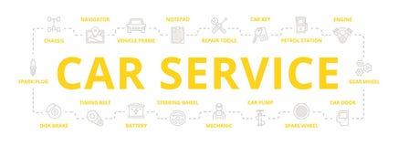 Reeks van de vectorautodienst en de autobanner van de reparatie dunne lijn voor ontwerpconcept Illustratie voor presentaties op w vector illustratie