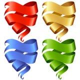 Reeks van de vectorbanner van het Lint in de vorm van hart Stock Foto's
