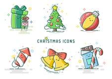 Reeks van 6 de vectorillustratie van het Kerstmispictogram Stock Fotografie