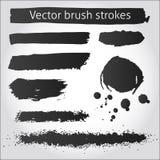 Reeks van de vectorslagen en de vlek van de grungeinkt Stock Afbeelding