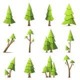 Reeks van de veelhoek de vectorboom die op witte achtergrond wordt geïsoleerd stock illustratie