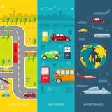 Reeks van de vervoer de vlakke verticale banner Royalty-vrije Stock Afbeelding