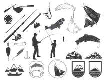 Reeks van de visserij van pictogrammen en pictogrammen Royalty-vrije Stock Afbeeldingen