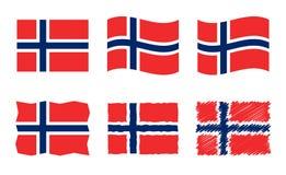 Reeks van de de vlag markeert de vectorillustratie van Noorwegen, officiële kleuren van Koninkrijk van Noorwegen vector illustratie