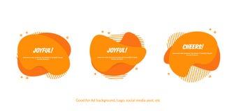 Reeks van de vlakke abstracte vectorbanner van Memphis Moderne vloeibare vormen oranje plons Malplaatjeontwerp klaar voor dekking royalty-vrije illustratie