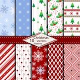 Reeks van 10 de Vrolijke achtergrond van het Kerstmis naadloze patroon Stock Fotografie