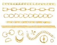 Reeks van de waterverf de gouden ketting vector illustratie