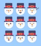Reeks van de winter negen emoticon Sneeuwman Emoji Vector illustratie Royalty-vrije Stock Foto's