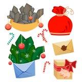 Reeks van van de Winterkerstmis van Kerstmis Decoratief Elementen de Vakantiethema stock illustratie