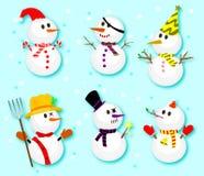 Reeks van de wintersneeuwman, Inzameling van sneeuwmannen in verschillende kostuums stock afbeelding