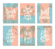 Reeks van de zomervakantie en tropische vakantieaffiches of groetkaart Royalty-vrije Stock Foto