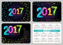 Reeks van de zwarte achtergrond van zakkalenders 2017 Stock Fotografie
