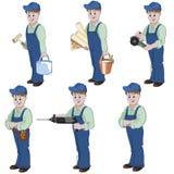 Reeks van decorateur of manusje van alles met materiaal voor reparatie Stock Foto