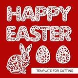 Reeks van decoratie voor Pasen: konijnhazen, eieren en kanten inschrijving - Gelukkige Pasen stock illustratie