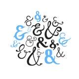 Reeks van Decoratieve Ampersands Stock Fotografie