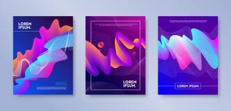 Reeks van dekkingsontwerp met abstracte multicolored stroomvormen Vectorillustratiemalplaatje Universeel abstract ontwerp voor de vector illustratie