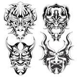 Reeks van demonmasker vector illustratie