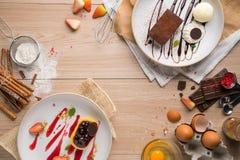 Reeks van Dessert stock afbeeldingen