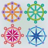 Reeks van Dharma Wheels - Boeddhismesymbool - Kleuren Royalty-vrije Stock Afbeeldingen