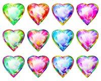 Reeks van Diamond Pendant Abstract Symbol Icon van de hartvorm de Veelkleurige Royalty-vrije Stock Afbeelding