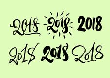 Reeks van 2018 die van letters voorzien Hand getrokken 2018 jaar kalligrafieaantallen Moderne stijlinzameling De unieke inschrijv vector illustratie