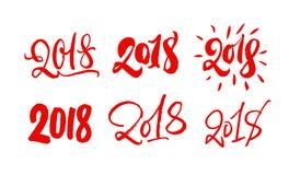 Reeks van 2018 die van letters voorzien Hand getrokken 2018 jaar kalligrafieaantallen Rood op Wit Moderne stijlinzameling vector illustratie