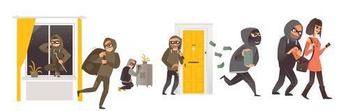 Reeks van dief, inbreker, zakkenroller op het werk vector illustratie