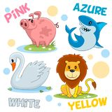 Reeks van dierenroze, wit, geel en azuurblauw stock illustratie