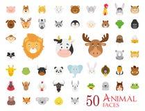 Reeks van 50 Dierlijke Gezichten in beeldverhaalstijl royalty-vrije illustratie