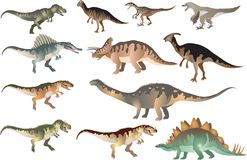 Reeks van Dinosaurus T -t-rex, Stegosaurus, Pacycephalosaurus, Triceratop - Vectorillustratie stock illustratie